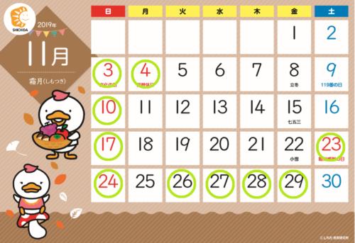 2019年11月のレッスン調整日(お休み)
